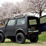 花見しながらジムニーと河川敷で夜桜キャンプ
