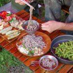 星の降る森でキャンプ 天ざる蕎麦&手作りナン